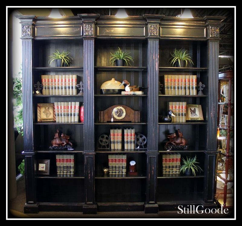 Large Habersham Style Wall Unit / Bookcase In A Distressed Black Finish.  Cabinet Has 15