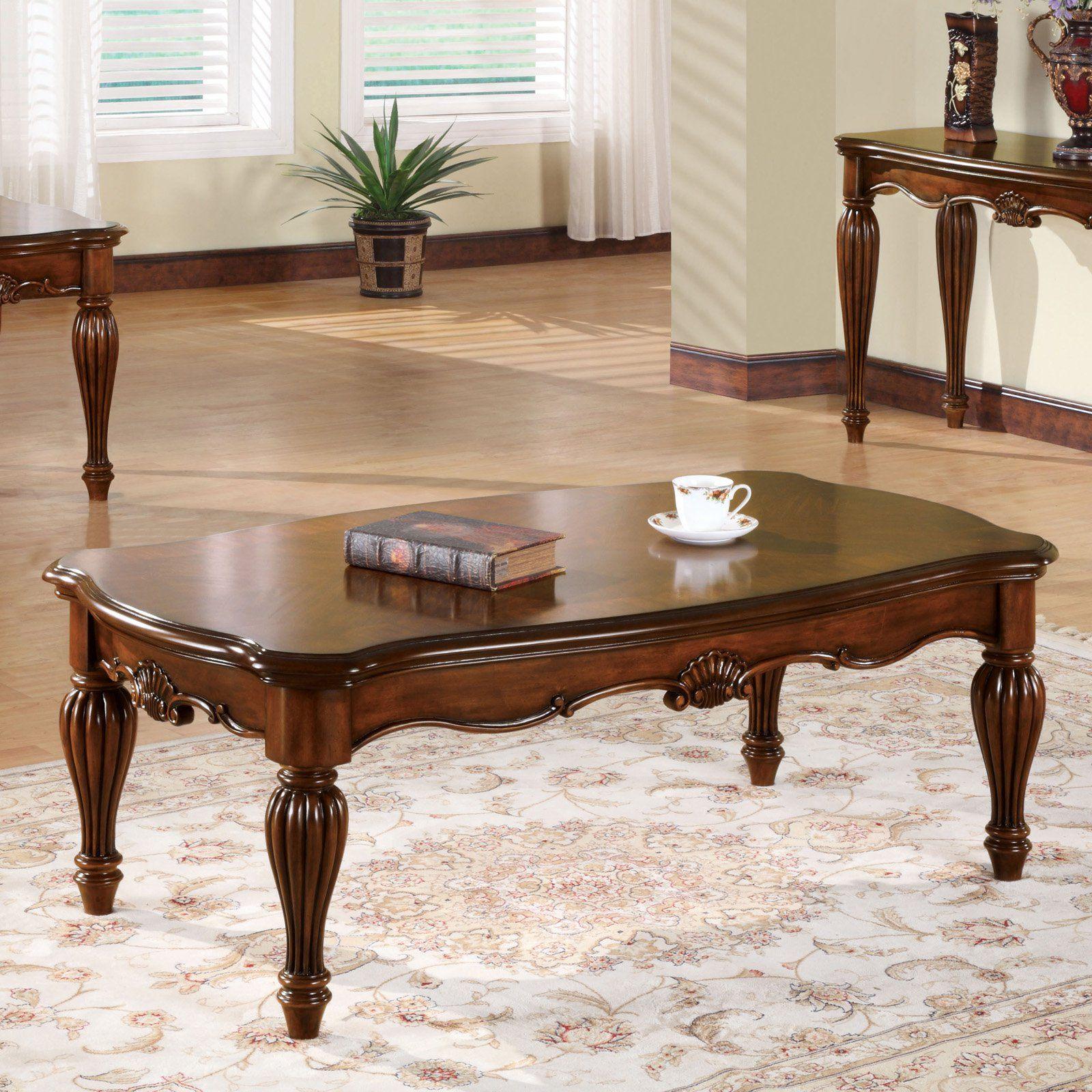 Acme Furniture Dreena Coffee Table Traditional Coffee Table Cherry Coffee Table Wood Table Living Room [ 1600 x 1600 Pixel ]