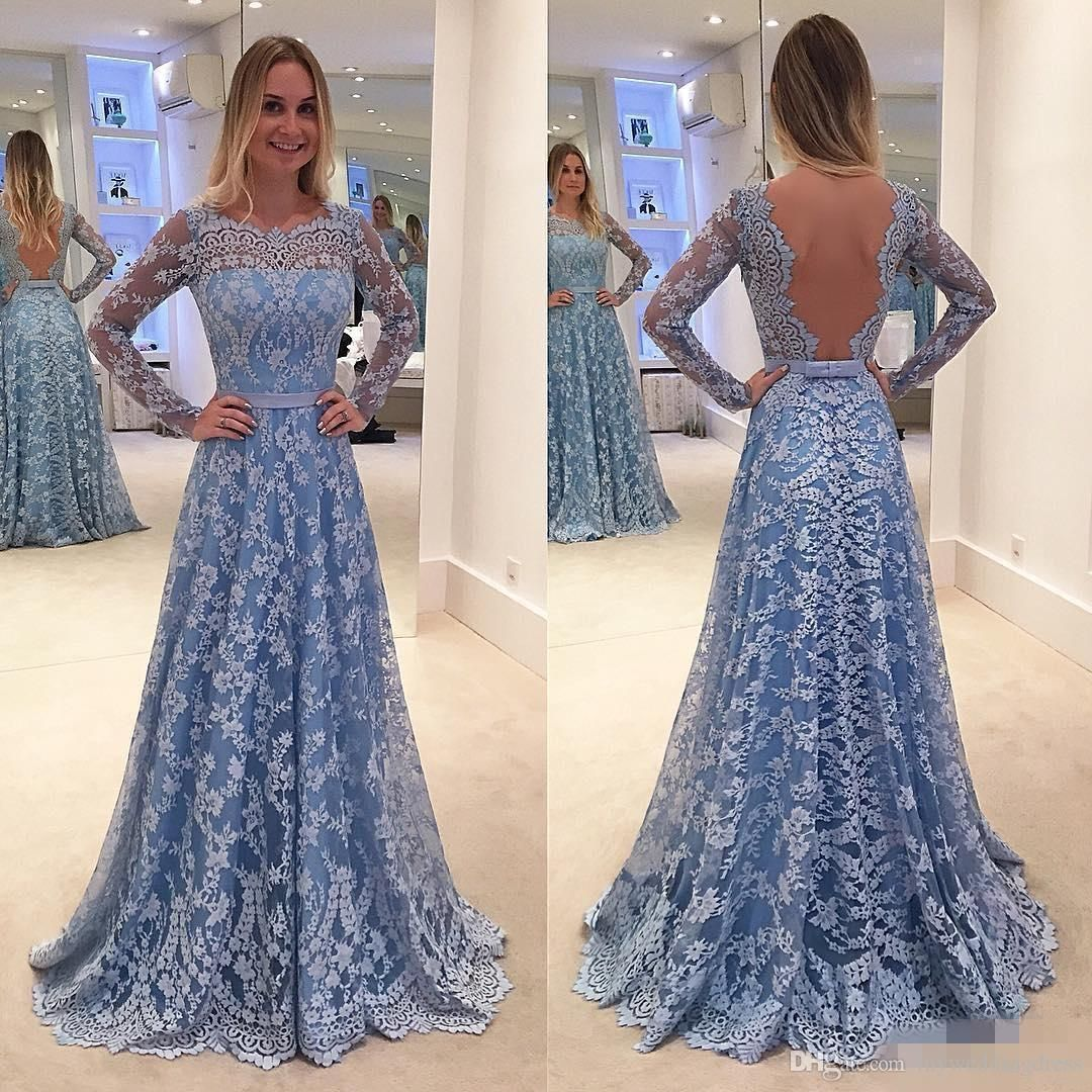Cool lace prom evening pageant dresses backless long sleeve