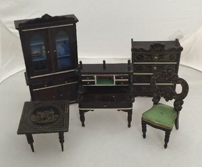 Antique Waltershausen Dolls House Furniture Collection Of 5 Pieces Inc  Bookcase