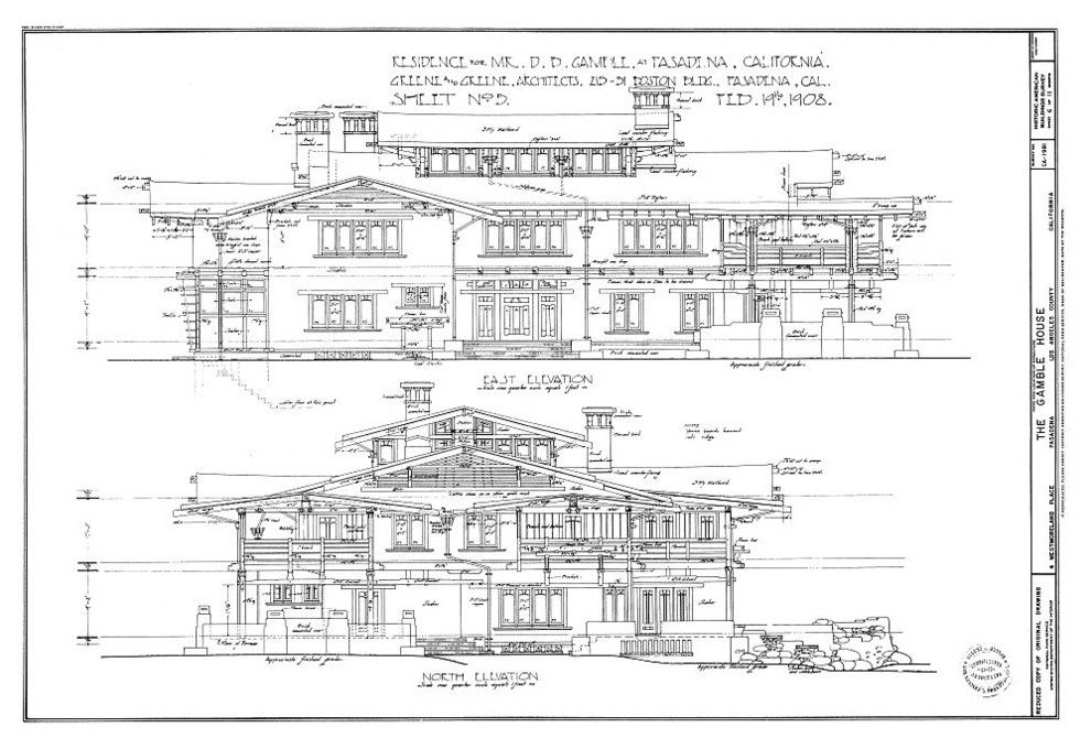 The Arts & Crafts style Gamble House, 1908, Pasadena