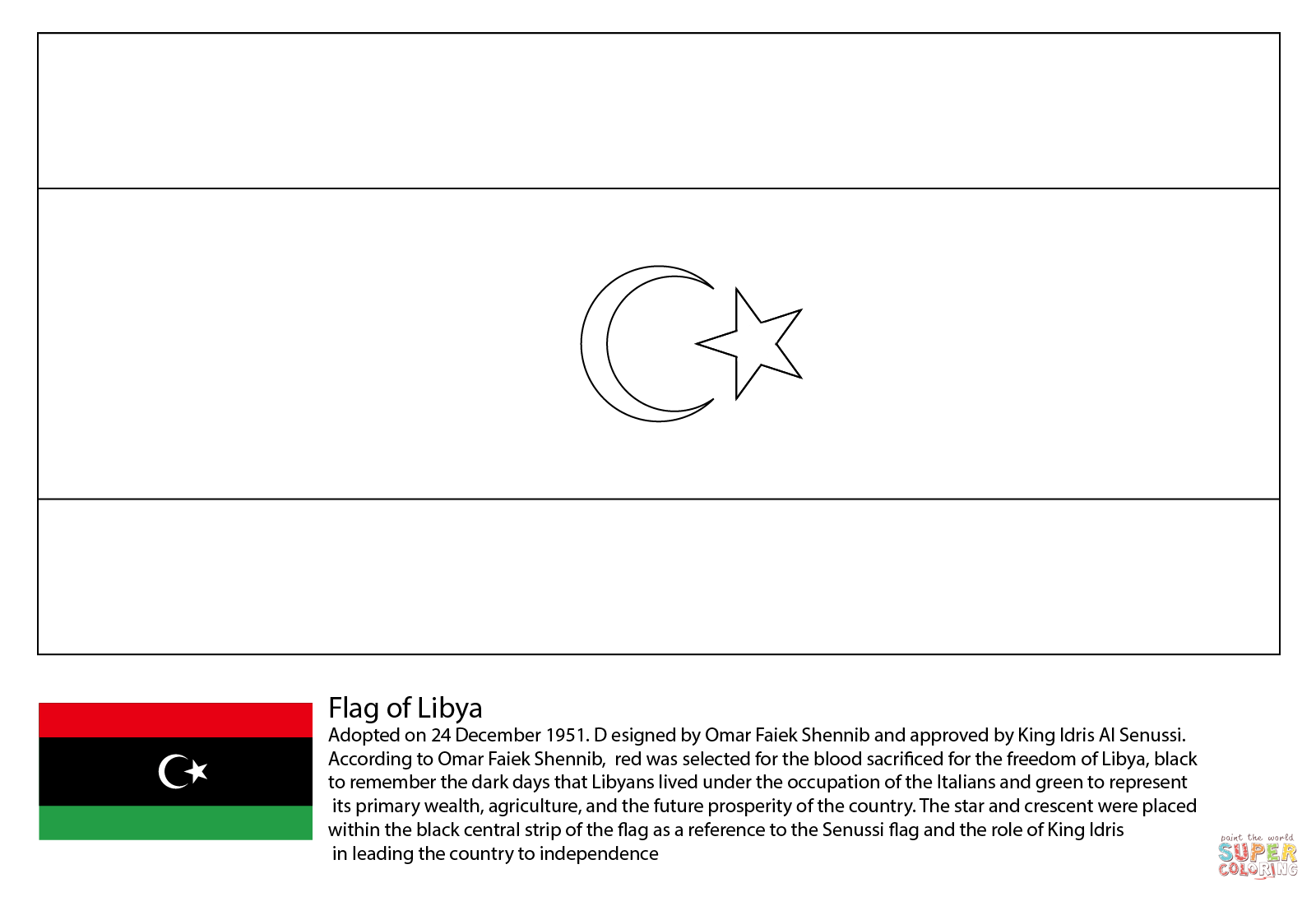 Flag of Libya coloring page | Unit 3-2: Ottoman Empire, Egypt ...