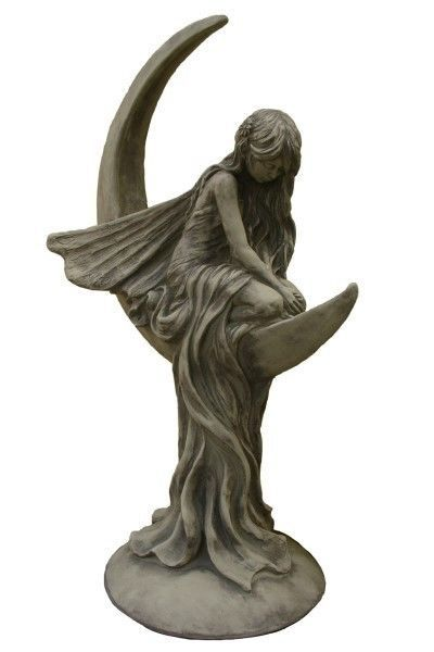 Gartenfigur Mondfee Lunaria Steinguss Gartendeko Steinfigur Gartenskulptur Engel Gartenskulptur Garten Deko Steinfiguren