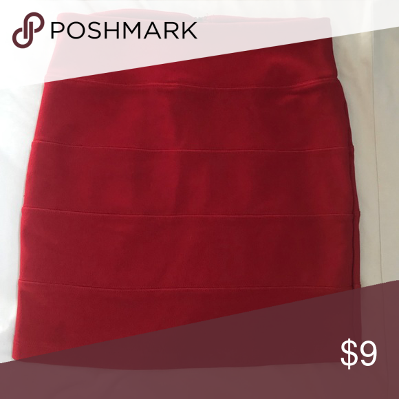 53dc72909b Zip Up Pencil Skirt Bright red, gold zipper back, and skin tight pencil  shirt! What more could you want in a skirt?! Forever 21 Skirts Pencil
