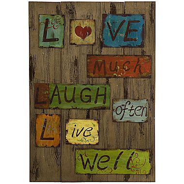 Life Laugh Love Tin Wood Wall Art Jcpenney Love Wall Art Love Wall Wood Wall Art
