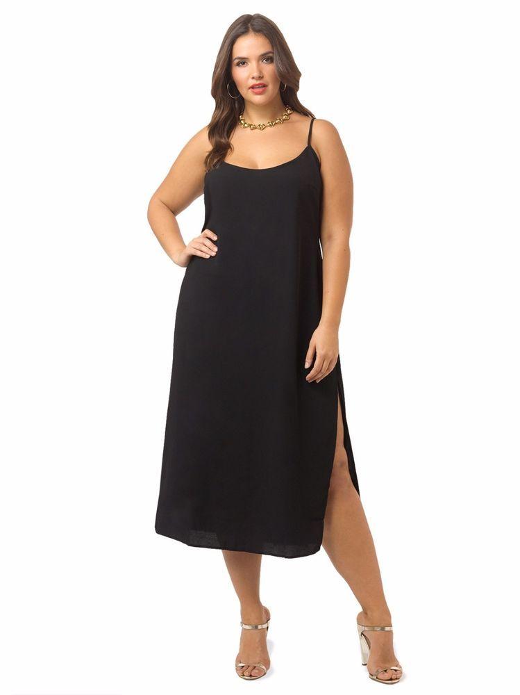 City Chic Womens Side Split Black Tunic Dress Plus Size M 18