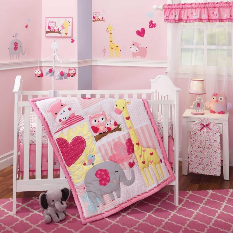 Jungle Animals Owls, Giraffe & Elephant Baby Girls Nursery 3 Pc Crib ...