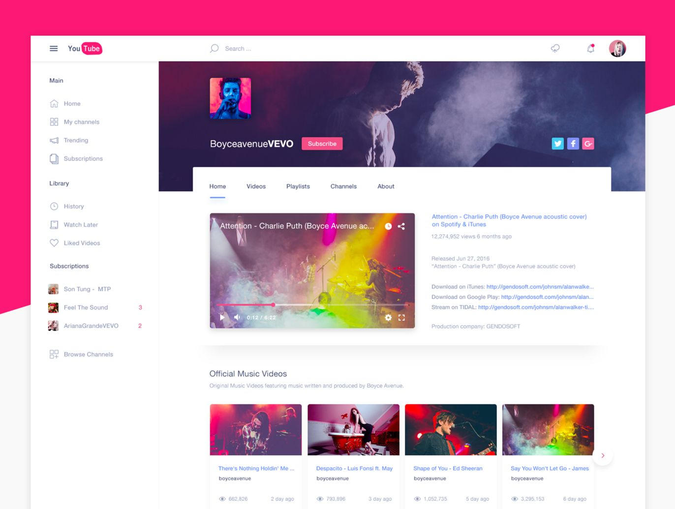 Youtube Redesign Free Psd Free Psd Website Templates Youtube Website Website Template Youtube