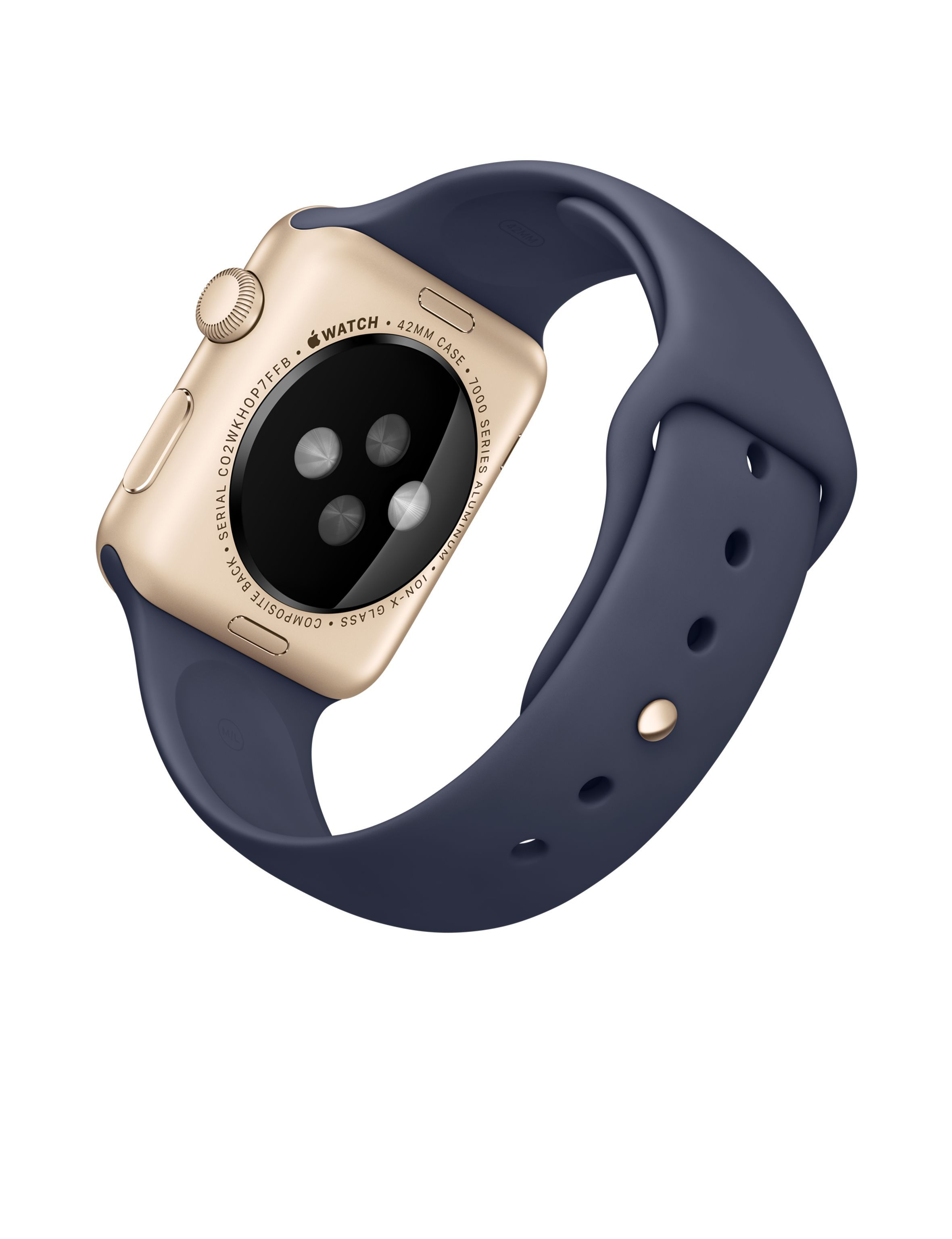 1a3a1da74b2 Apple Watch Sport – Caixa de 42 mm dourada de alumínio com pulseira  desportiva azul meia-noite