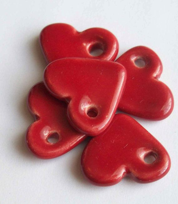 Cherry Red Heart Ceramic Pendants or Earrings by buttonalia, $10.00