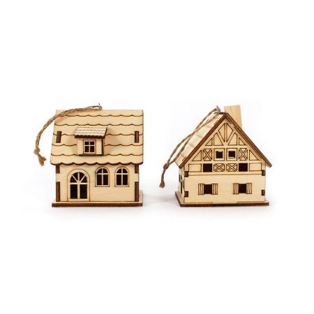 Set of 2 Small Wooden Houses   DeSerres