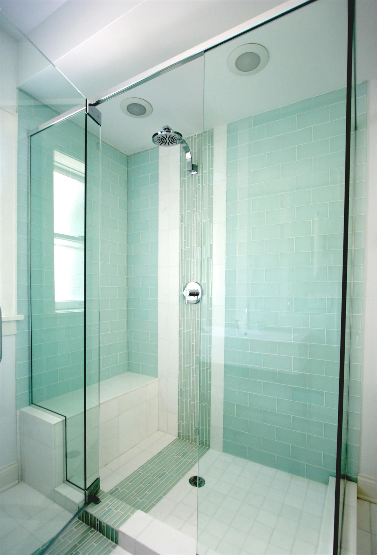 Frosted Sage Green Glass Subway Tile | Bench, Bath and Master bath ...