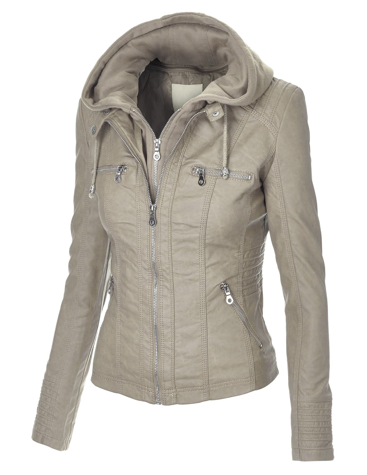 MBJ Womens Faux Leather Zip Up Moto Jacket With Hoodie at