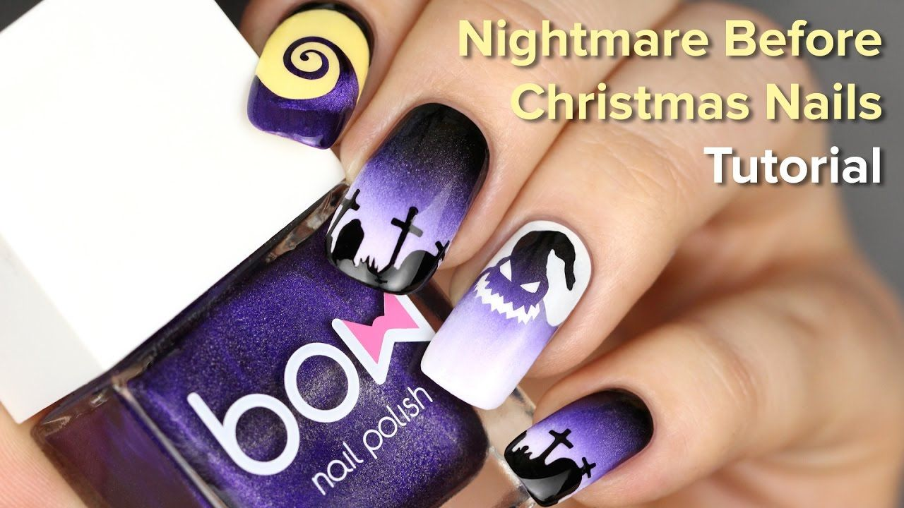 Image result for nightmare before christmas nail art