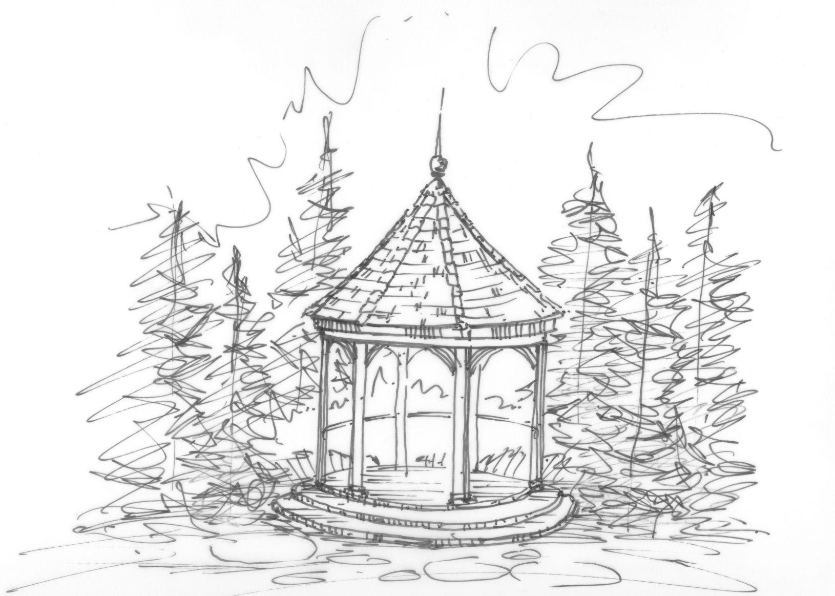 Gazebo sketch heather moll dunn landscape and garden design garden items pencil drawings