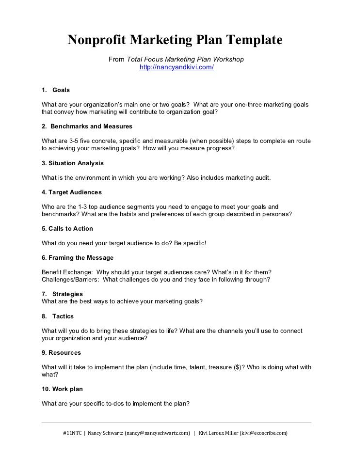 Nonprofit Marketing Plan Template From Total Focus Marketing Plan