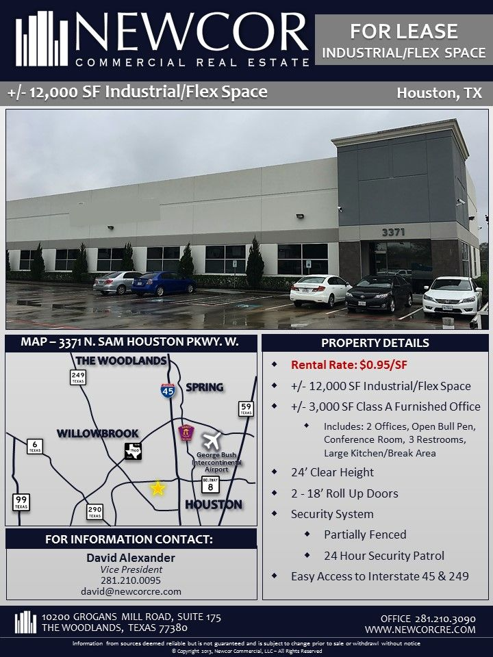 New Listing For Lease 5k Or 12k Sf Industrial Flex Space Beltway 8 Lease Commercial Real Estate Real Estate