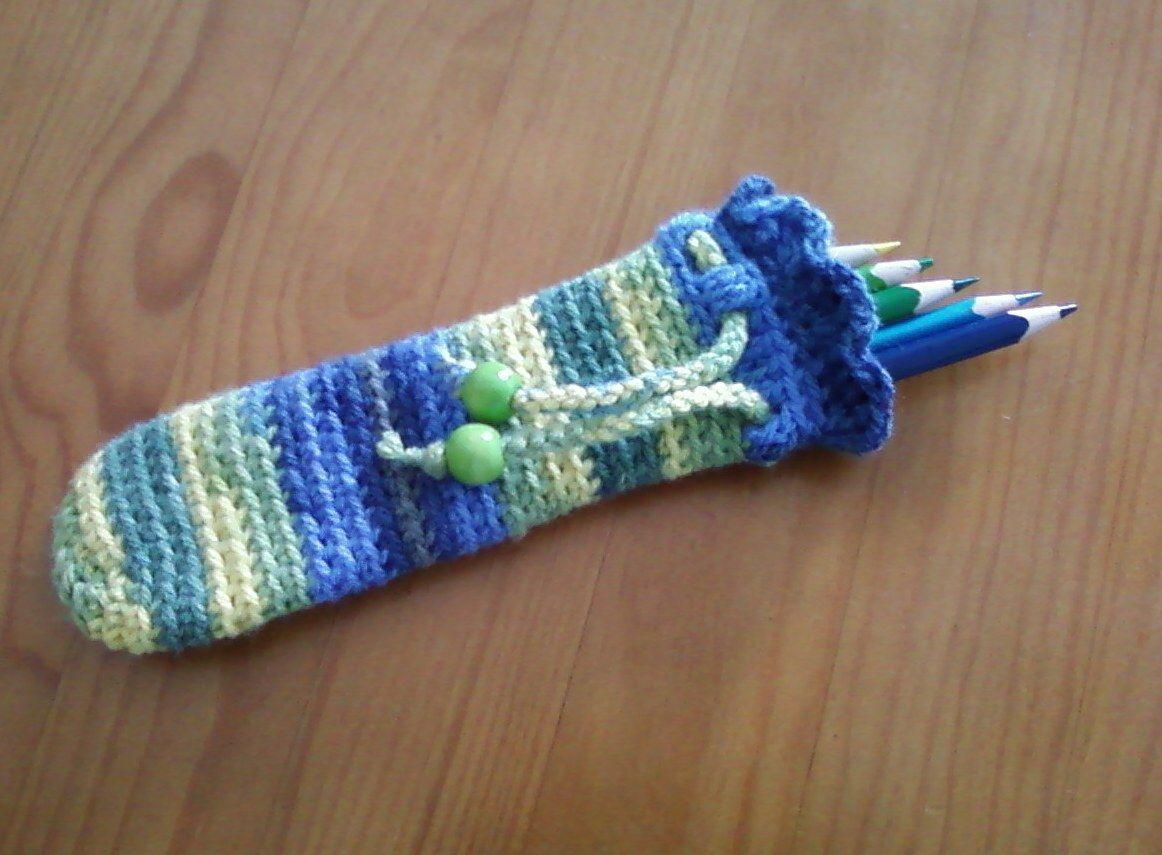 bolsa para lápis em crochet