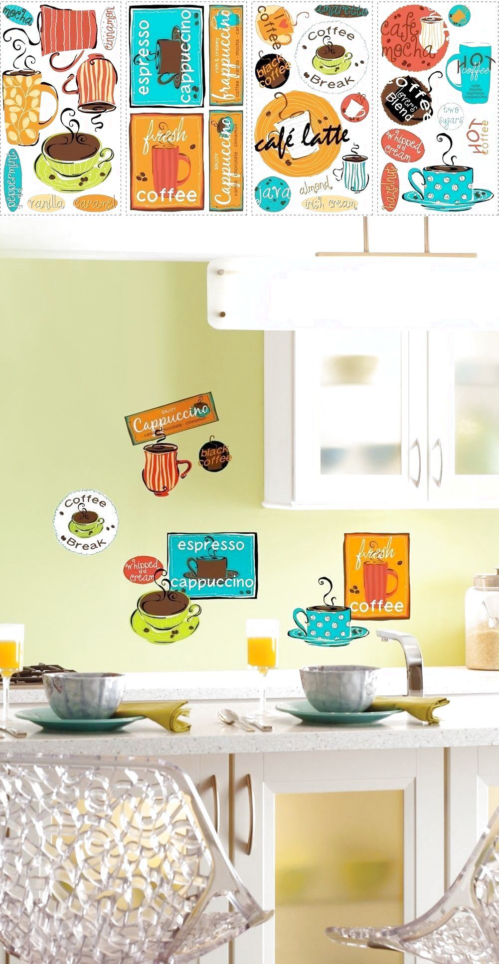 CAFE 32 BiG Wall Stickers COFFEE CUP JAVA Kitchen Room Decor Decals ...