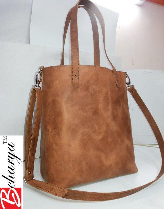 35cc3c5a801 Slimme dames Simpele bruin lederen tas met verstelbare door BCHARYA ...