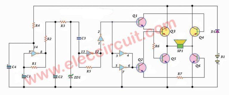 high power siren circuit using cd40106 555 alarm electric bell circuit diagram circuit using ne555 electronic circuits