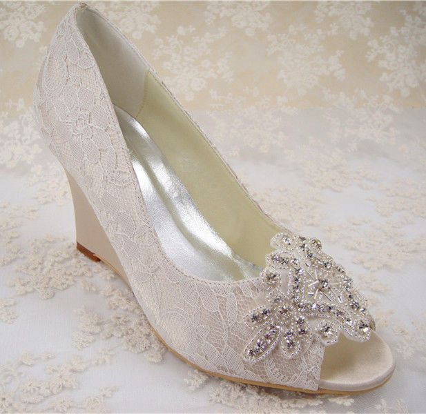 23f0bf513c86ac Champagne Bridal Glitter Wedges Shoes Handmade Lace Rhinestone Wedding shoes   OpenToe