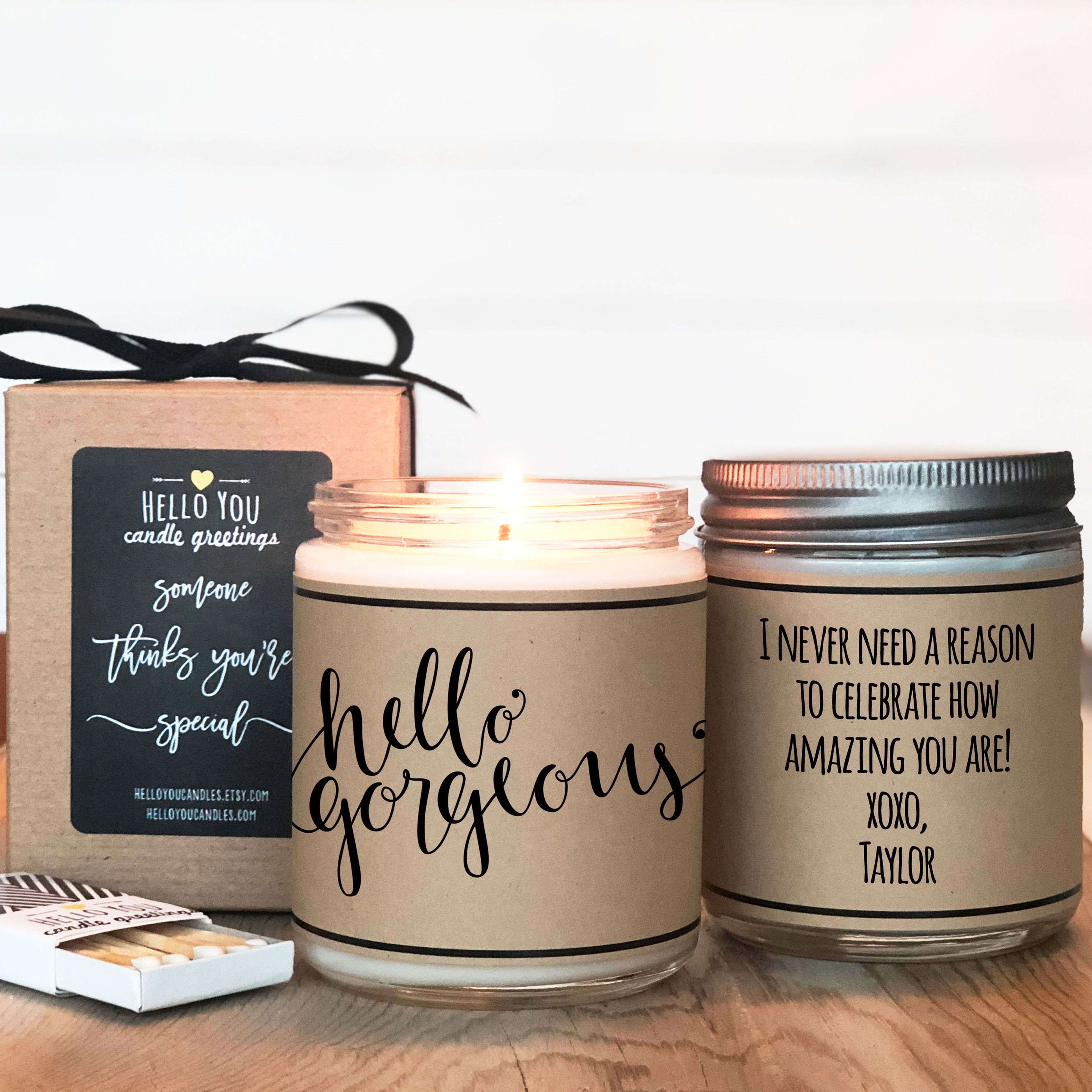 Soy Candle Personalized Gift Set Candles Candle Gift Thanksgiving Candles