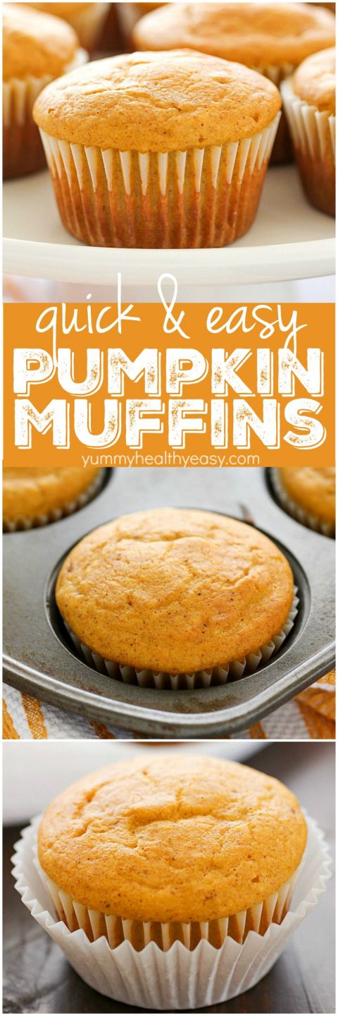 Easy Pumpkin Muffins are the perfect fall breakfast or snack! Using Bisquick as a shortcut makes these just about the easiest pumpkin muffins ever! Only 7 ingredients and 120 calories, you and your family will LOVE these delicious, light & fluffy easy pumpkin muffins for a quick fall breakfast! #pumpkinmuffins