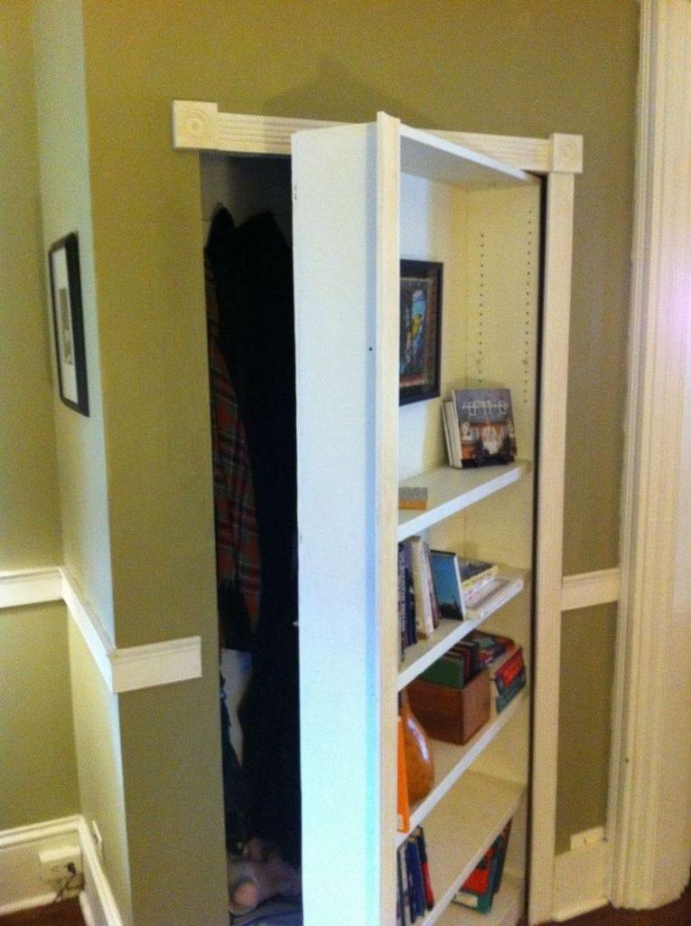 Turn A Bookcase Into A Secret Door Bookcase Door Diy Bookshelf Door Hidden Door Bookcase