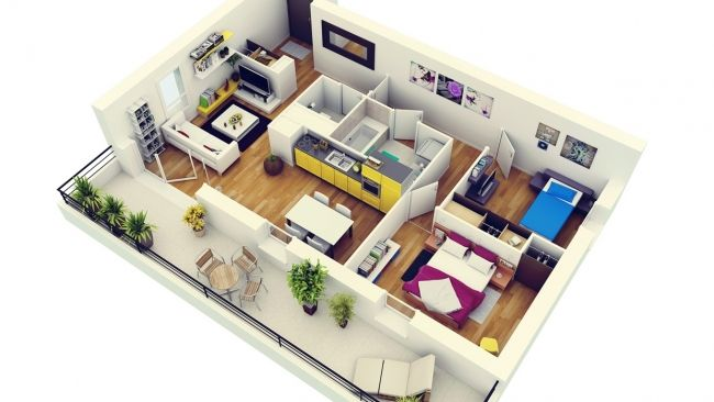 50 plans 3d d 39 appartement avec 2 chambres architecture for Appartement design plan