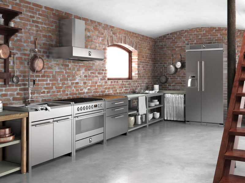 Brick wall, Stainless Steel Kitchen cabinets … | stainles…