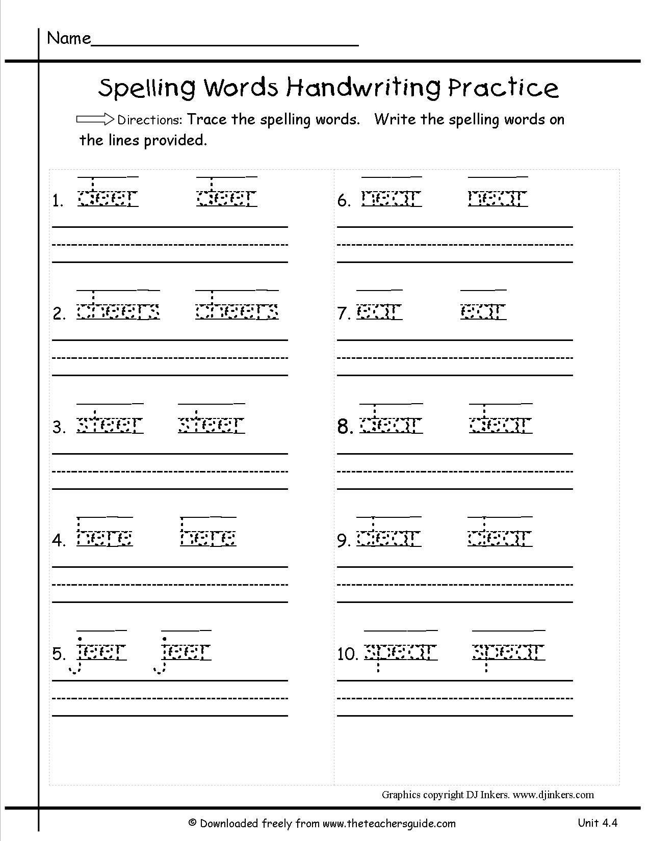 Handwriting Worksheets For First Grade 1st Grade Spelling