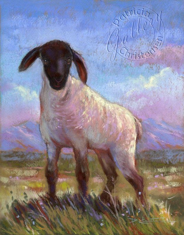 Lamb Paintings | Spring Lamb Suffolk Sheep Country New Baby Lamb Art Print by Patricia ...