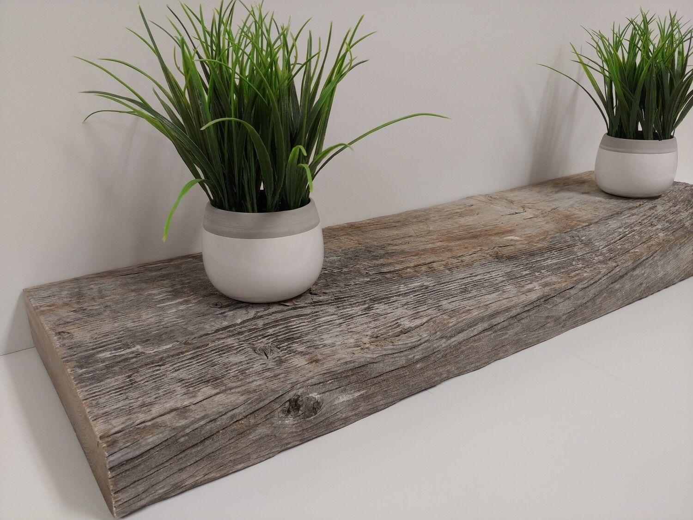 Barn Wood Floating Shelf Brown Grey In 2020 Wood Floating Shelves Reclaimed Wood Floating Shelves Metal Shelf Brackets