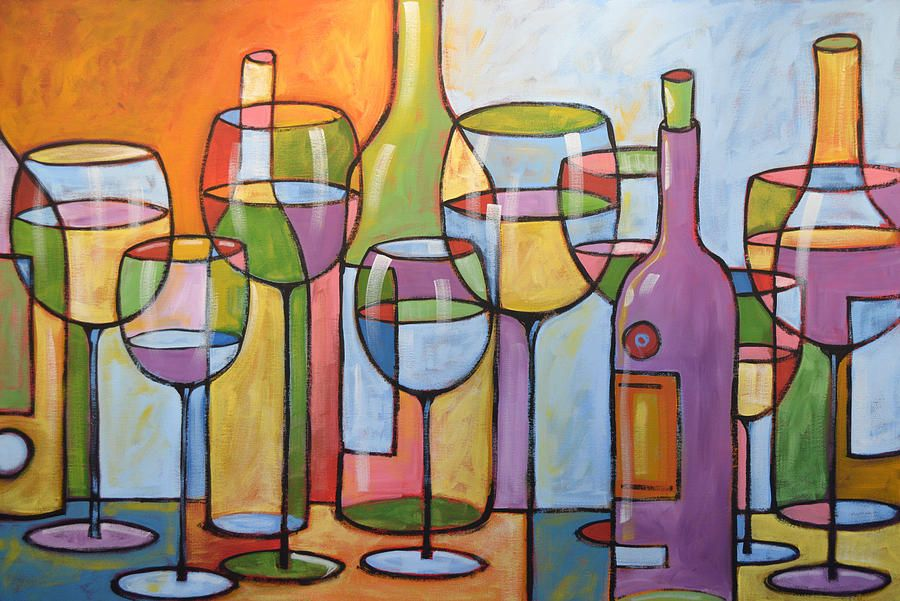 Abstract wine paintings abstract wine dining room bar for Abstract art for dining room