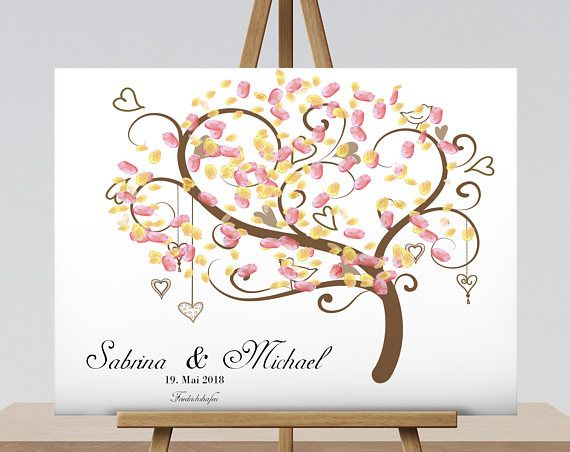 40×30 cm fingerprint tree – guest book Wedding tree fingerprint canvas tree