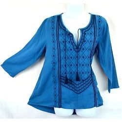 Lucky Brand Women M Blue Embroidered Tie Neck Peasant Boho Top Blouse NWT
