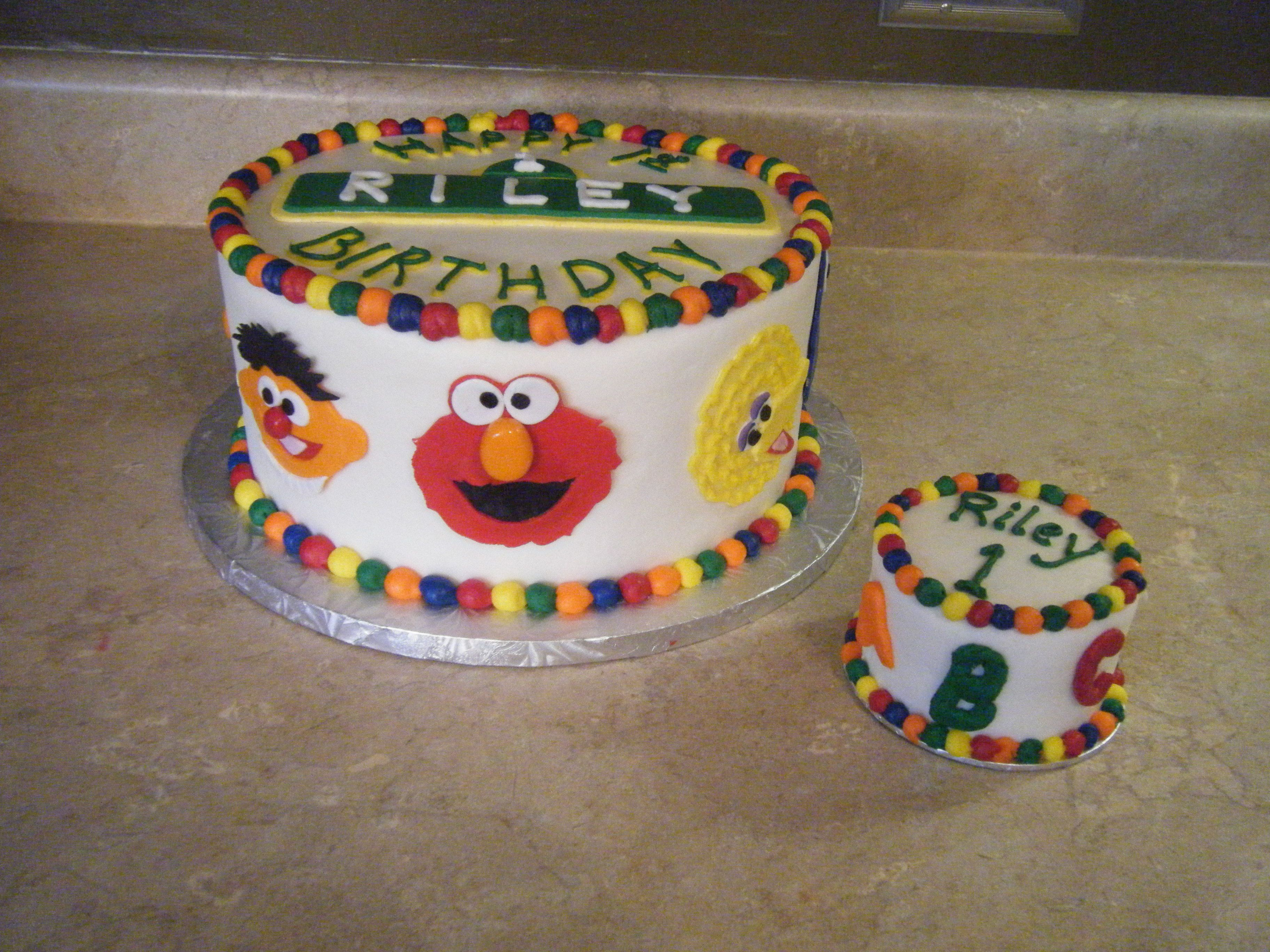 Stupendous Sesame Street First Birthday Cake With Abc 123 Smash Cake With Personalised Birthday Cards Sponlily Jamesorg