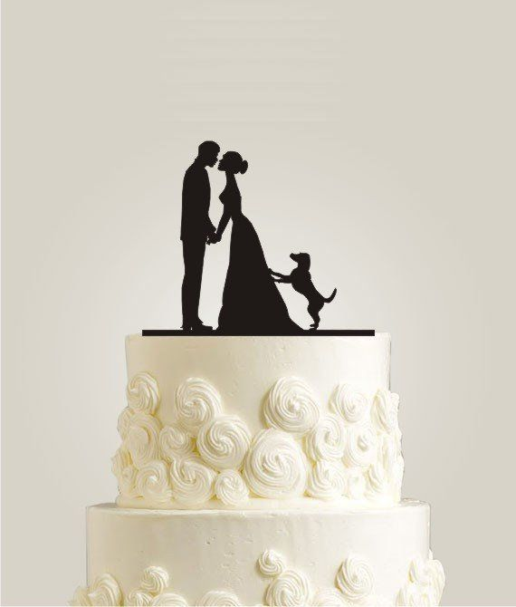silhouette cake topper with dog by laser design shop ...