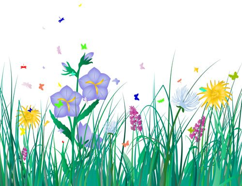 grass and flowers clip art home