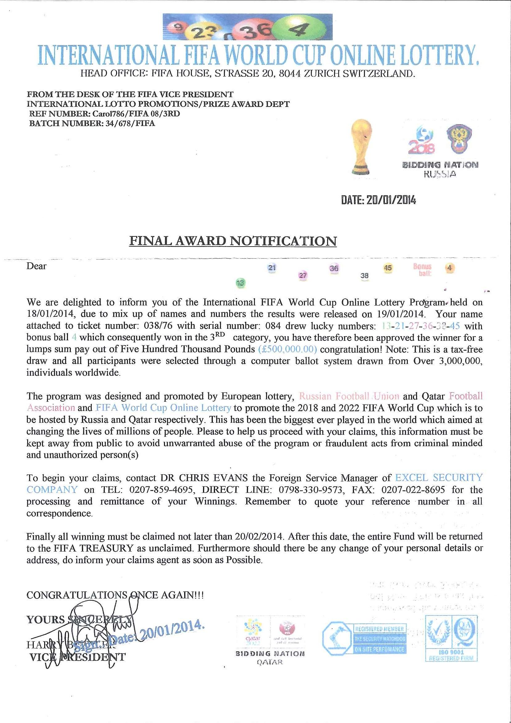 International FIFA World Cup line Lottery scam letters are being