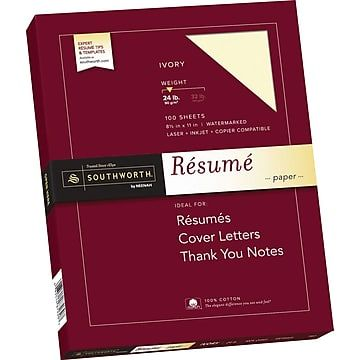 "Southworth Resume Paper Southworth 100% Cotton Exceptional Resume Paper 85"" X 11"" 24 Lb"