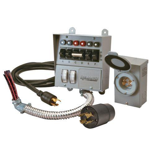 . 7500 Watts Reliance Controls Corporation 31406CRK 30 Amp 6-circuit Pro//Tran Transfer Switch Kit for Generators
