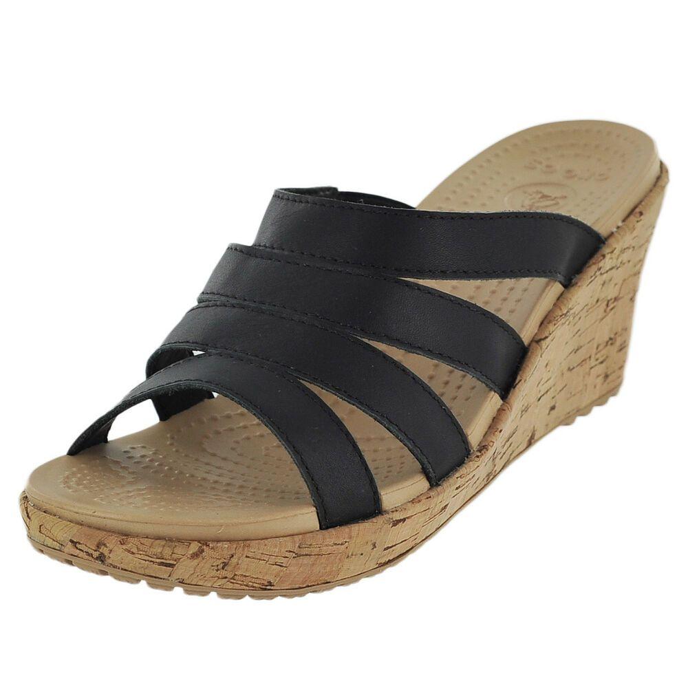 a20a57894 Crocs Wedge Heel Sandals Cork Black Strap Casual Women s Shoe Size 9   fashion  clothing  shoes  accessories  womensshoes  sandals (ebay link)