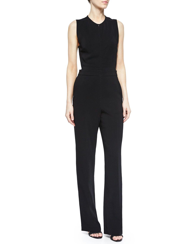 a6414b963f Andrea Sleeveless Crepe Jumpsuit