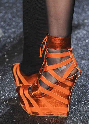 Jean Paul Gaultier Orange Strappy Wedge Sandal PFW 2013 #Shoes #Wedges