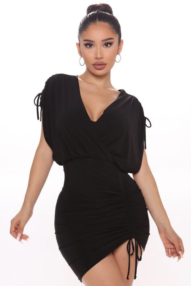 Got More Cool Ruched Mini Dress Black Mini black dress