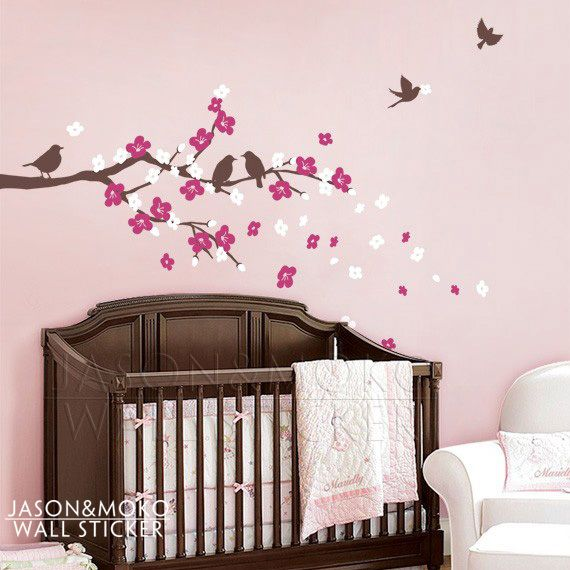 Cherry Blossom Branch with Birds - Kids Vinyl Wall Sticker Decal Set   for home  wall decals  124*200CM  Free shipping US $17.39