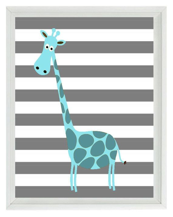 Giraffe Wall Art Print - Nursery Children Kid Baby Room Aqua Gray Stripes Custom Home Decor #graystripedwalls