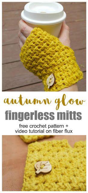 Free Crochet Pattern...Autumn Glow Fingerless Mitts ...